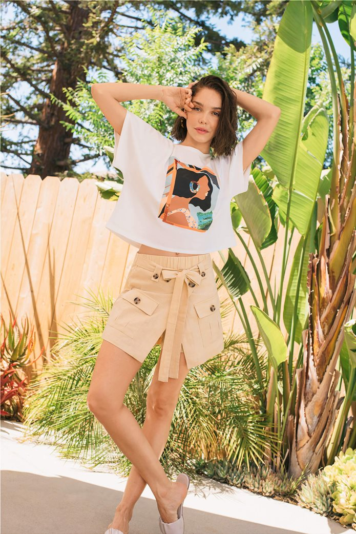 Orsay γυναικείο oversize T-shirt με print και παγιέτα Λευκό 0