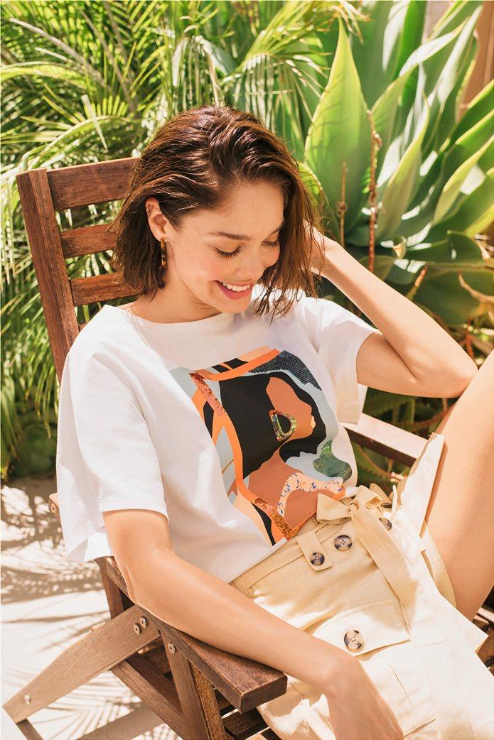 Orsay γυναικείο oversize T-shirt με print και παγιέτα Λευκό 1