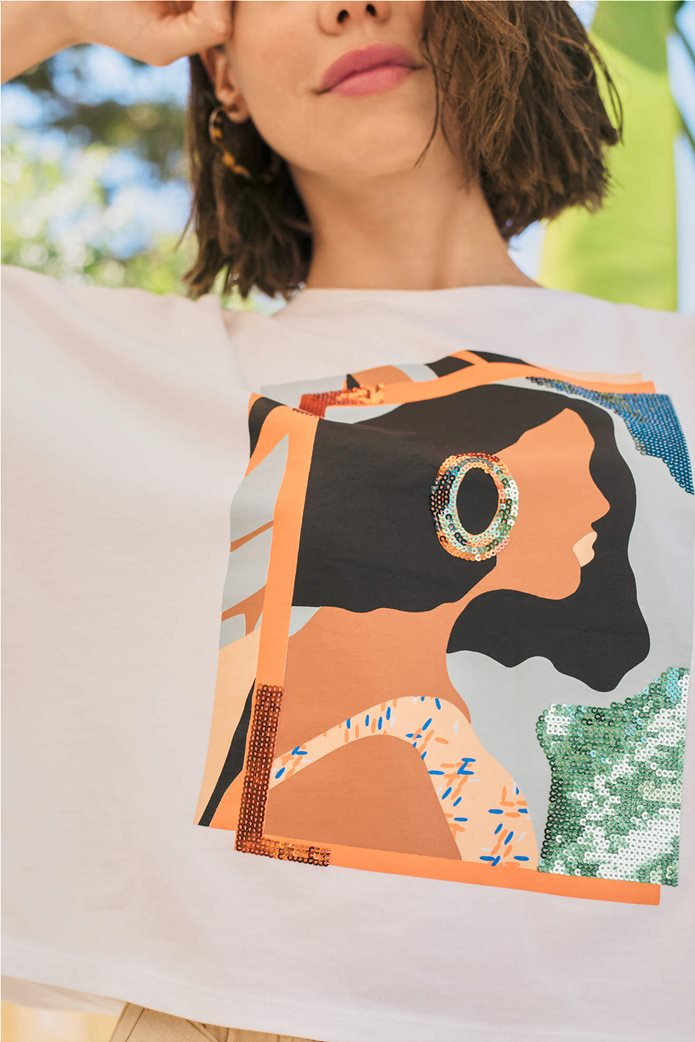 Orsay γυναικείο oversize T-shirt με print και παγιέτα Λευκό 2