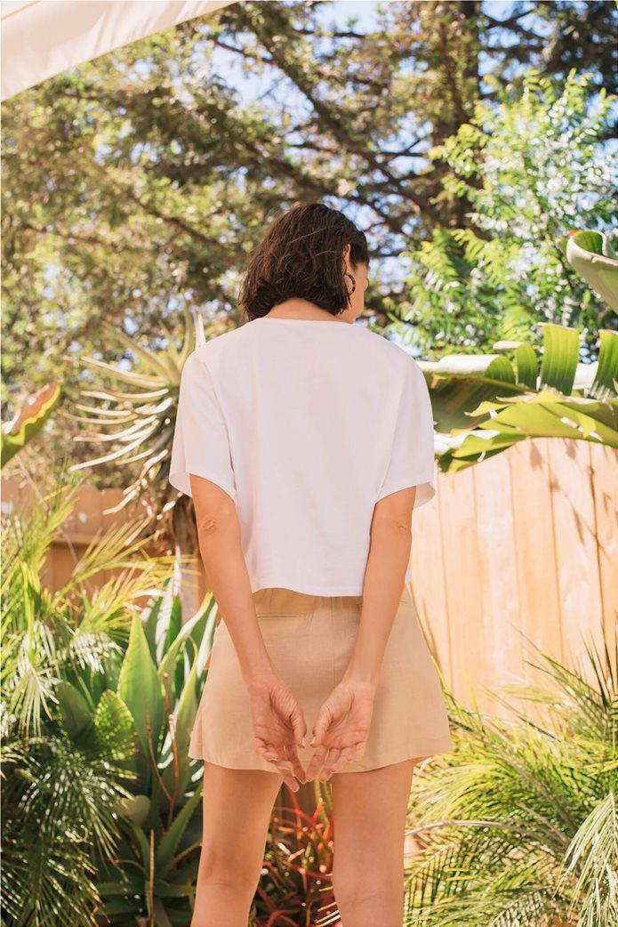 Orsay γυναικείο oversize T-shirt με print και παγιέτα Λευκό 3