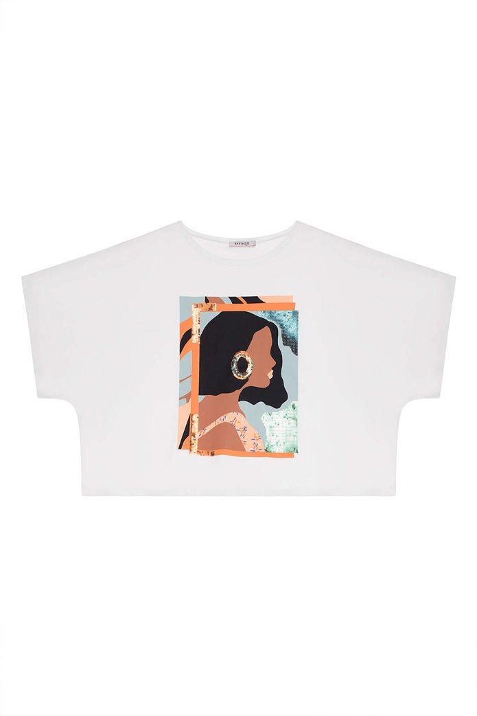Orsay γυναικείο oversize T-shirt με print και παγιέτα Λευκό 4