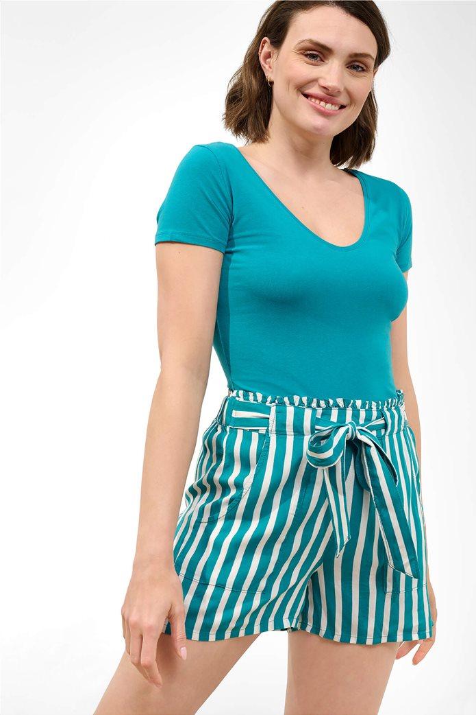 Orsay γυναικείο T-shirt μονόχρωμο με V λαιμόκοψη Γαλάζιο 0