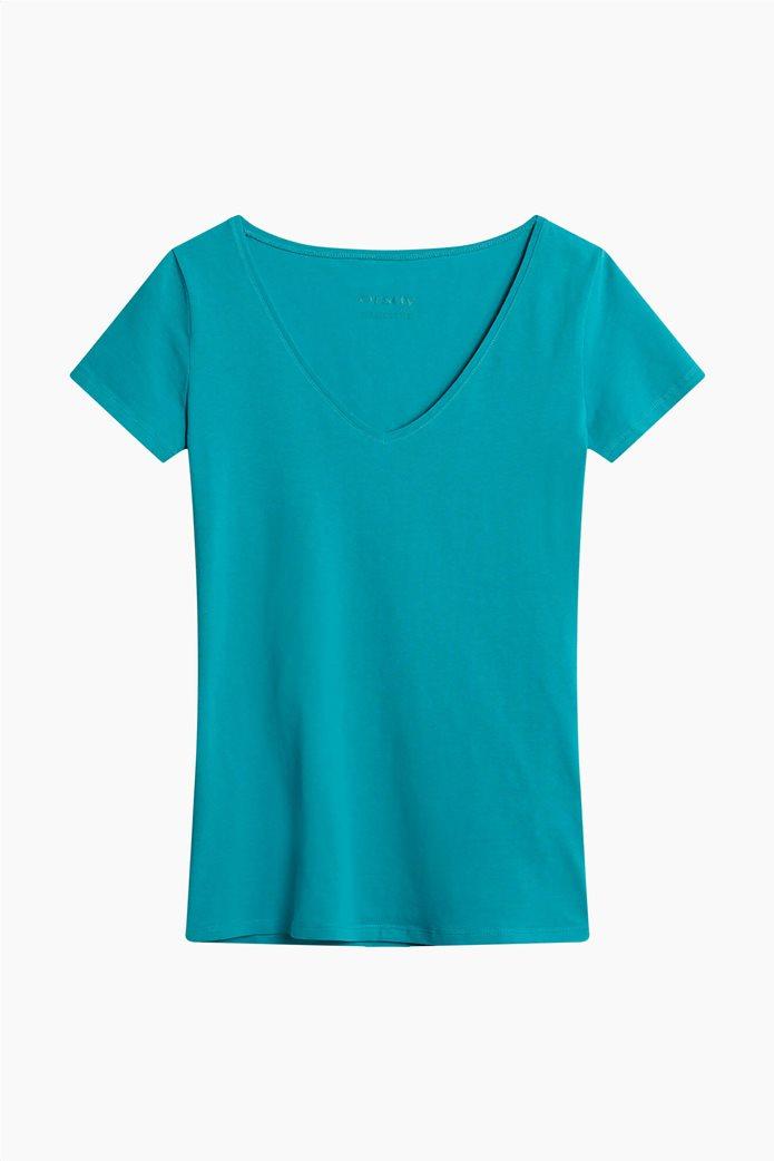 Orsay γυναικείο T-shirt μονόχρωμο με V λαιμόκοψη Γαλάζιο 4
