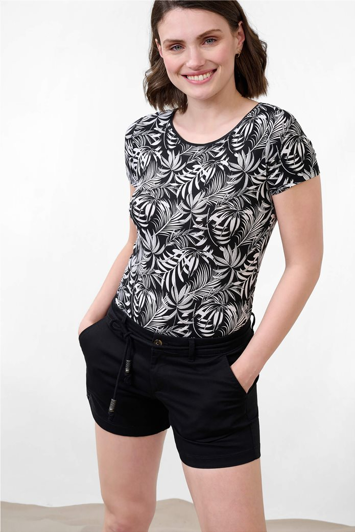 Orsay γυναικεία μπλούζα με tropical print και ανοιχτή λαιμόκοψη Μαύρο 0