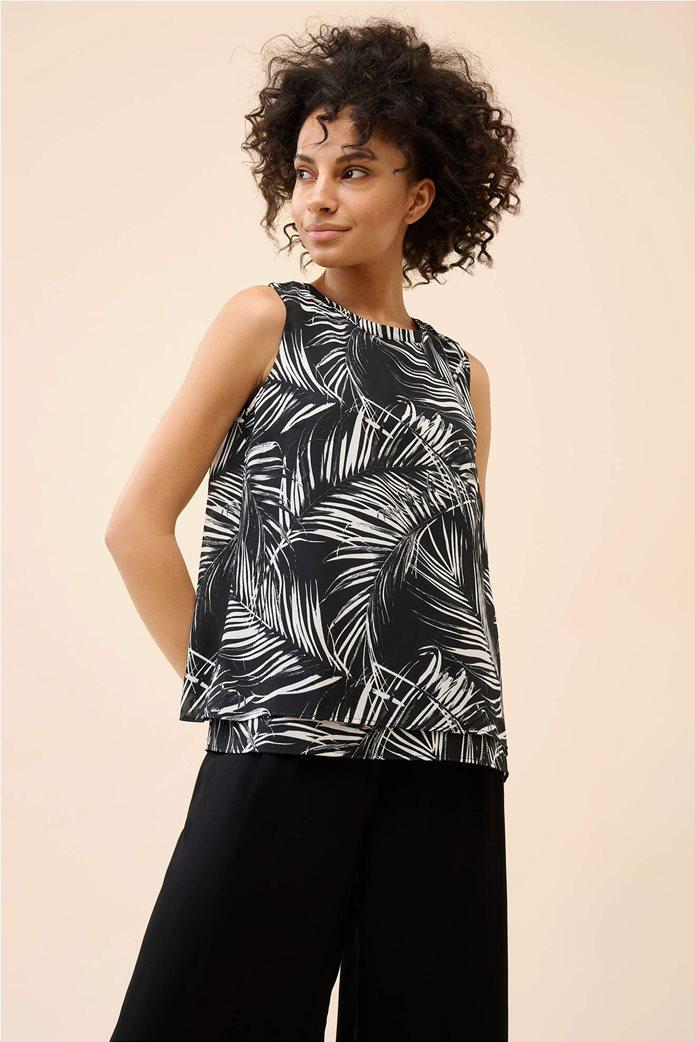 Orsay γυναικεία μπλούζα αμάνικη με all-over leaf print Μαύρο 0