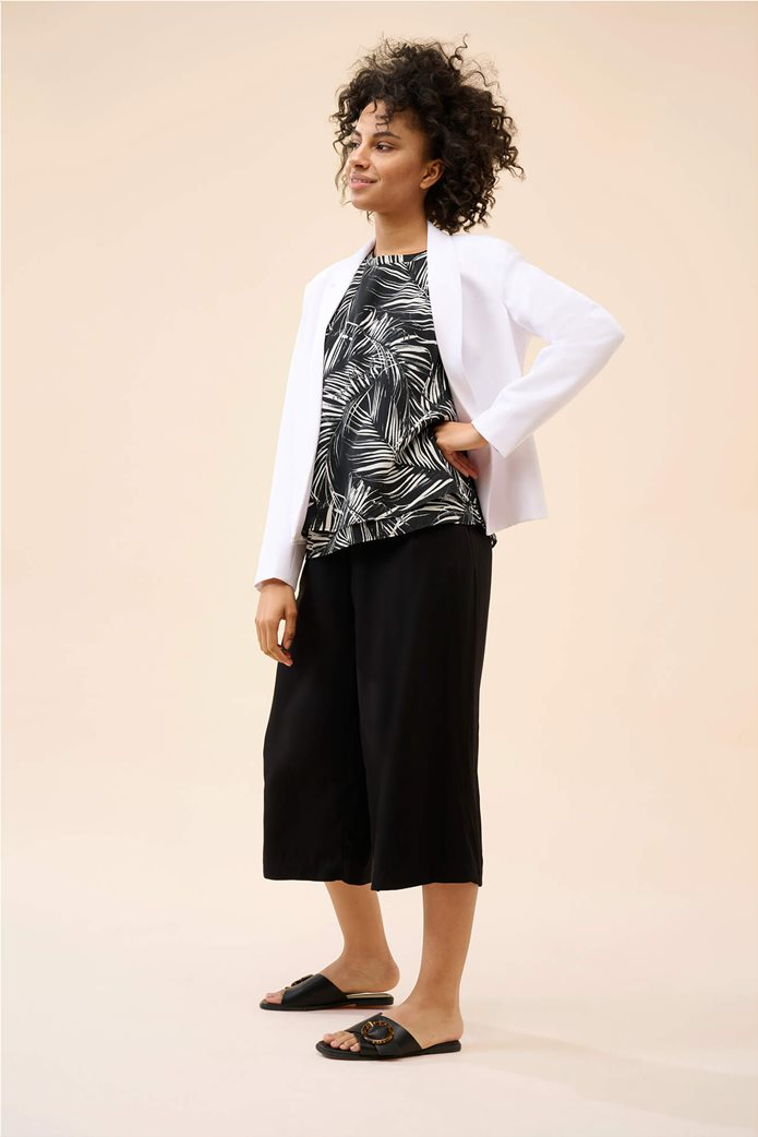 Orsay γυναικεία μπλούζα αμάνικη με all-over leaf print Μαύρο 1