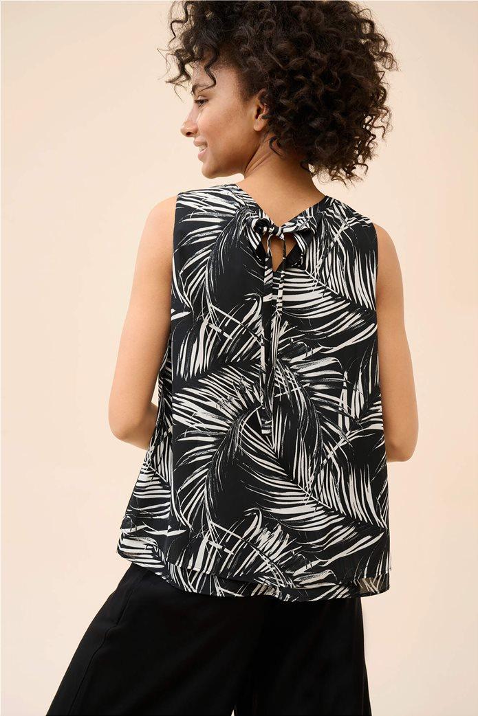 Orsay γυναικεία μπλούζα αμάνικη με all-over leaf print Μαύρο 2
