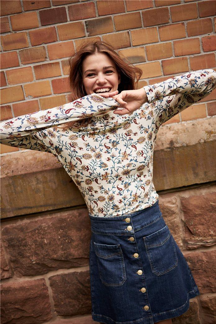 Orsay γυναικεία μπλούζα με floral print και ψηλό γιακά Άσπρο 0