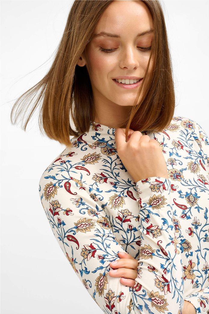 Orsay γυναικεία μπλούζα με floral print και ψηλό γιακά Άσπρο 1