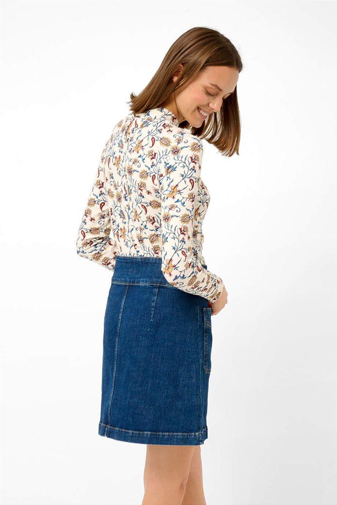 Orsay γυναικεία μπλούζα με floral print και ψηλό γιακά Άσπρο 3