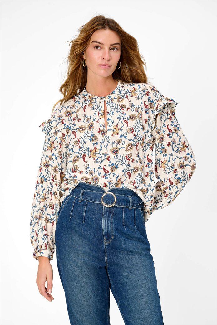 Orsay γυναικεία μπλούζα με floral print και βολάν Λευκό 2