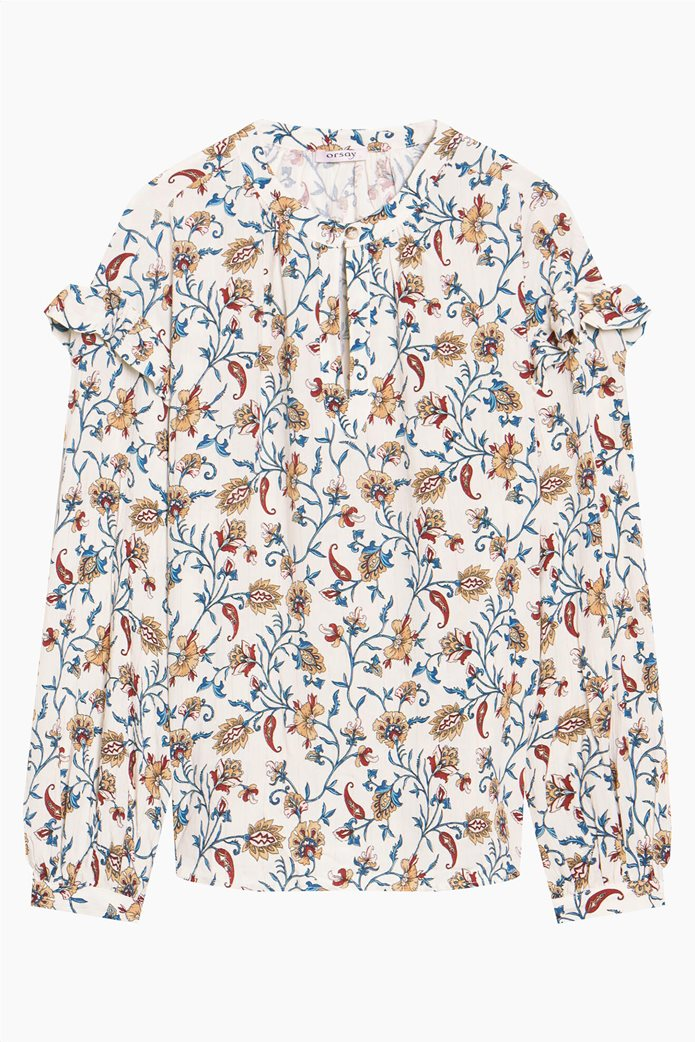 Orsay γυναικεία μπλούζα με floral print και βολάν Λευκό 4