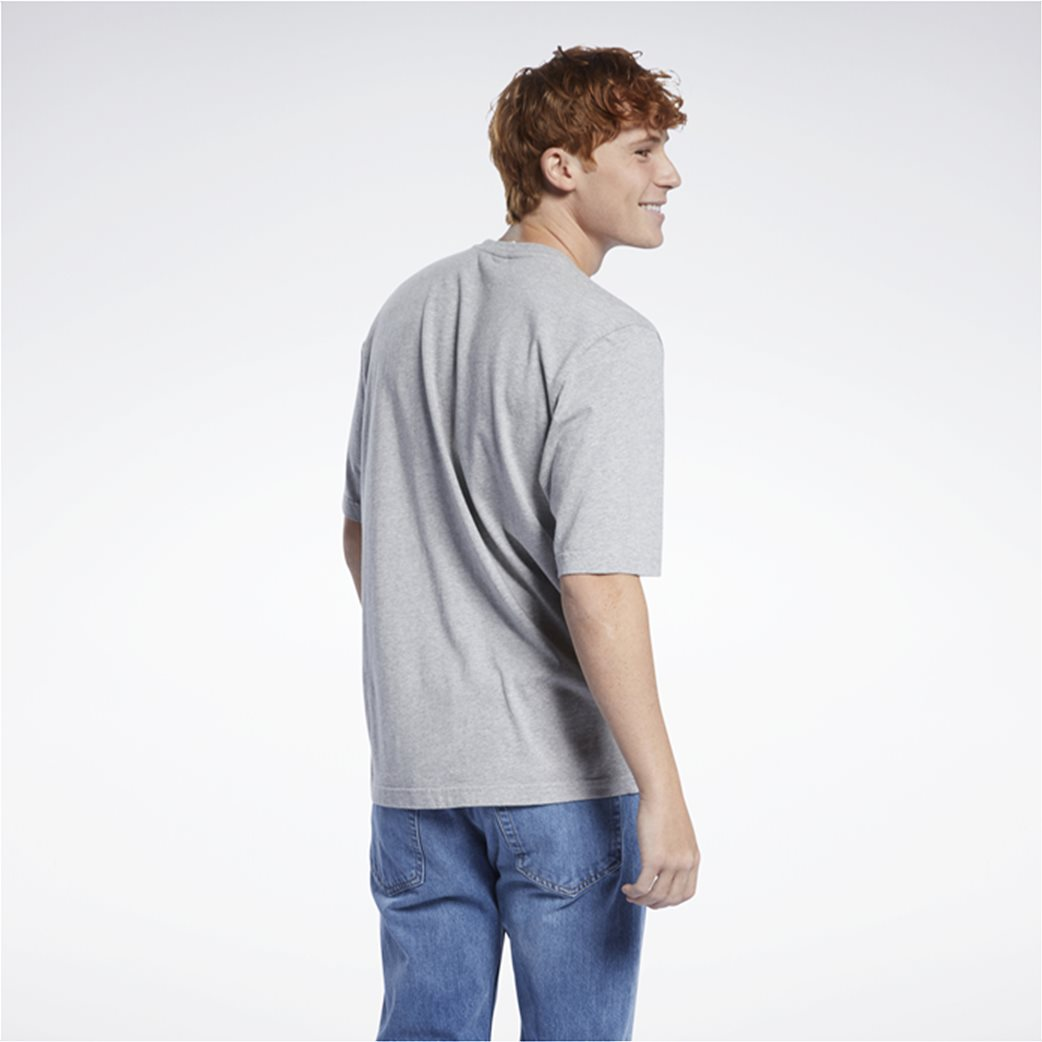 Reebok ανδρικό T-shirt με logo print Γκρι 2