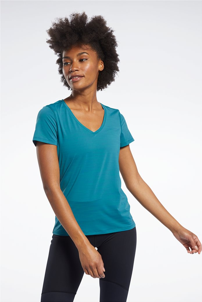 Reebok γυναικείο μονόχρωμο T-shirt με V λαιμόκομψη 0