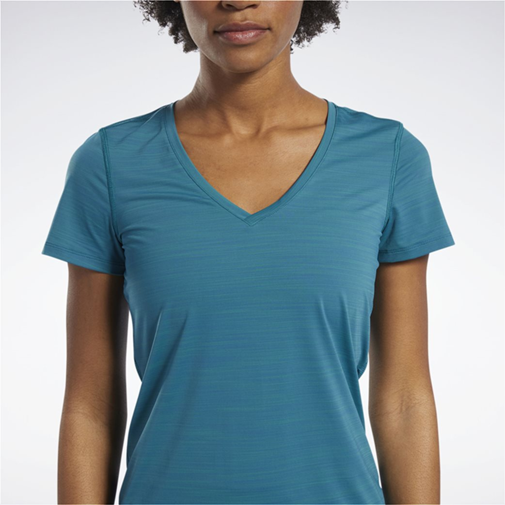 Reebok γυναικείο μονόχρωμο T-shirt με V λαιμόκομψη 3
