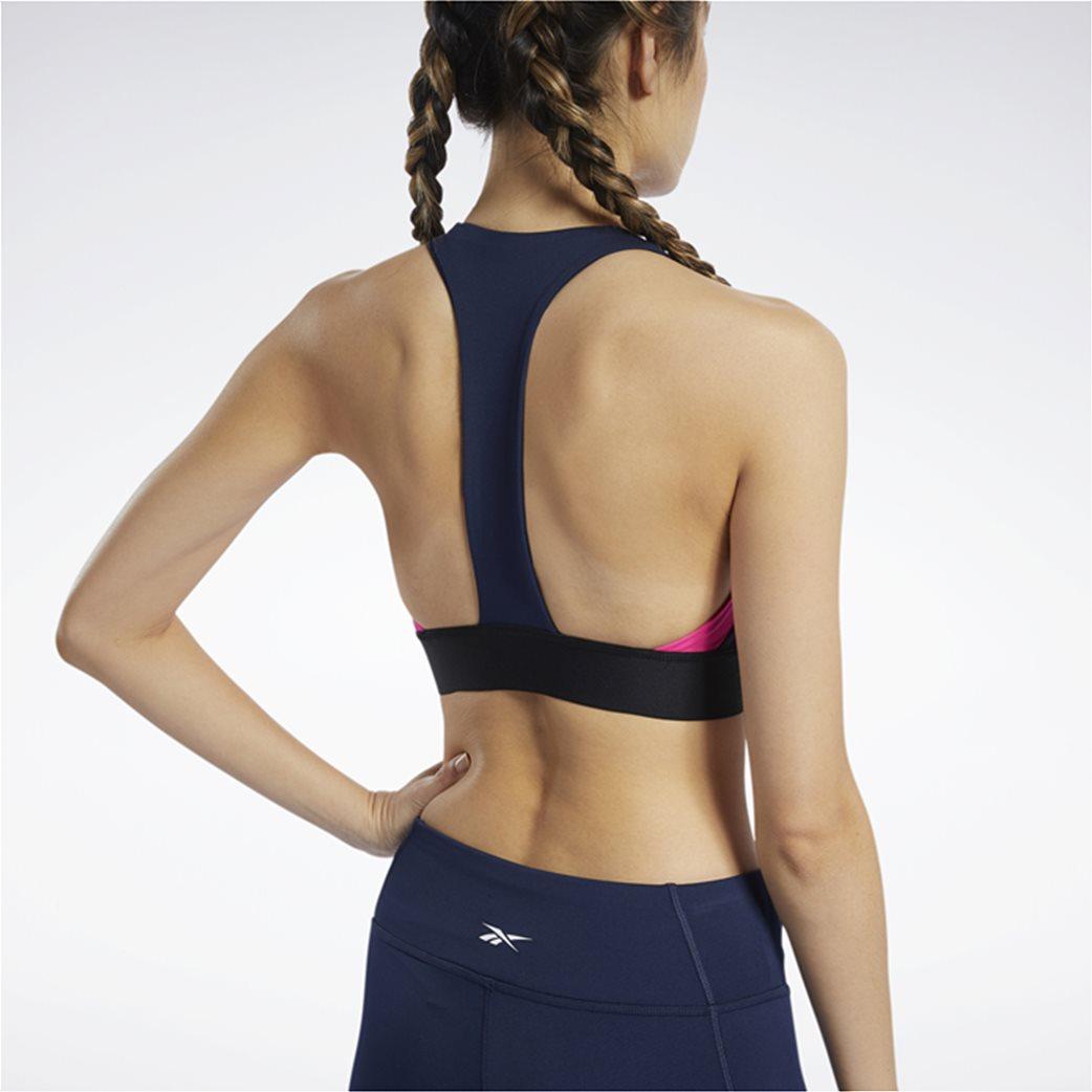 Reebok γυναικείο αθλητικό μπουστάκι με logo print Μπλε Σκούρο 2