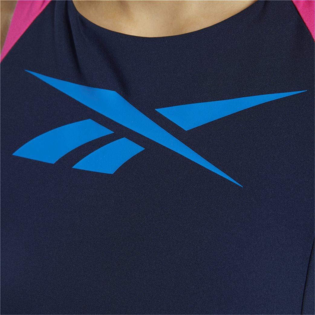 Reebok γυναικείο αθλητικό μπουστάκι με logo print Μπλε Σκούρο 4