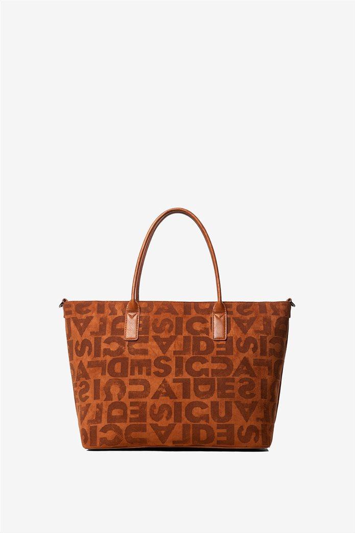 Desigual γυναικεία τσάντα ώμου με logo print 2