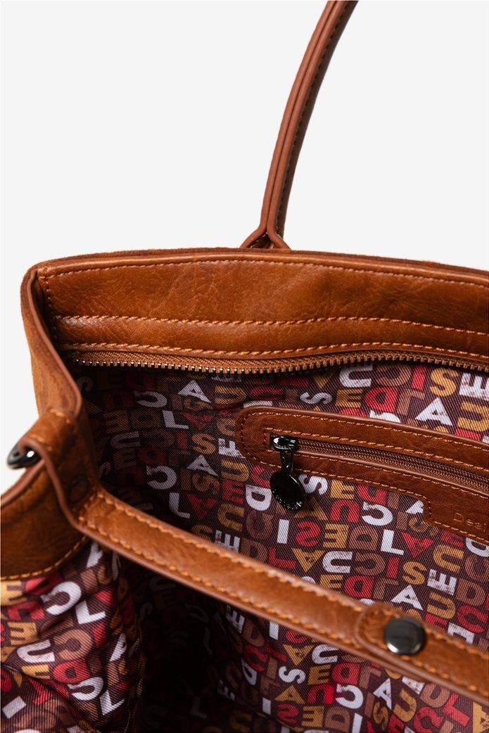 Desigual γυναικεία τσάντα ώμου με logo print 4