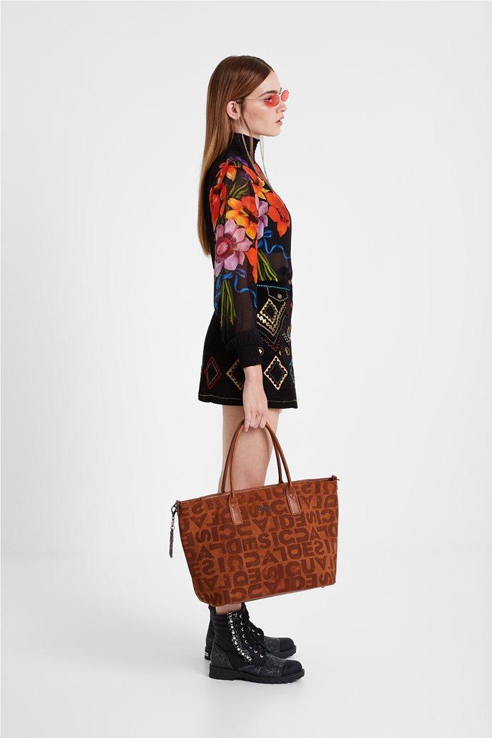 Desigual γυναικεία τσάντα ώμου με logo print 5