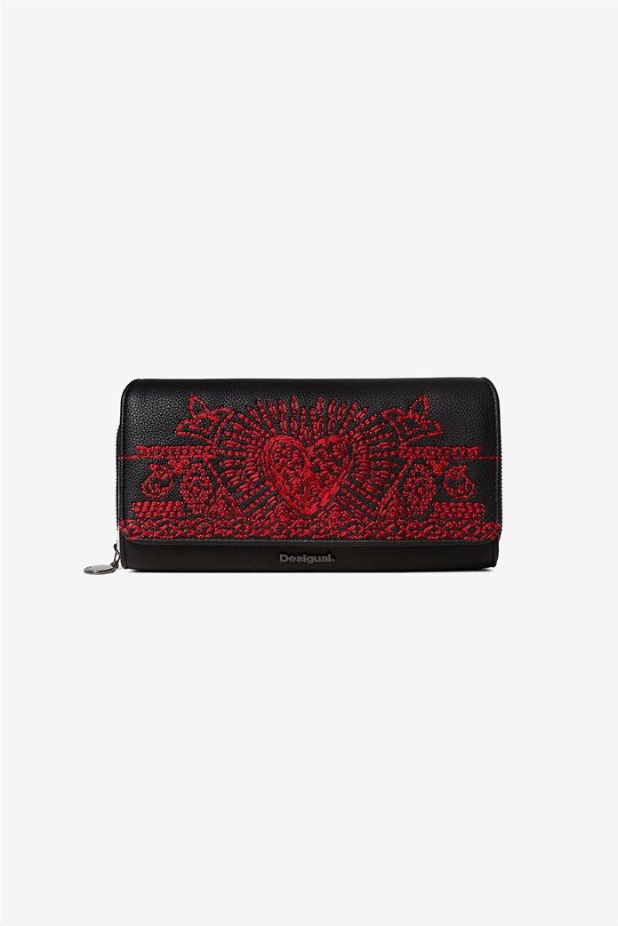 "Desigual γυναικείο πορτοφόλι με κεντήματα ""Beating heart Maria"" 0"