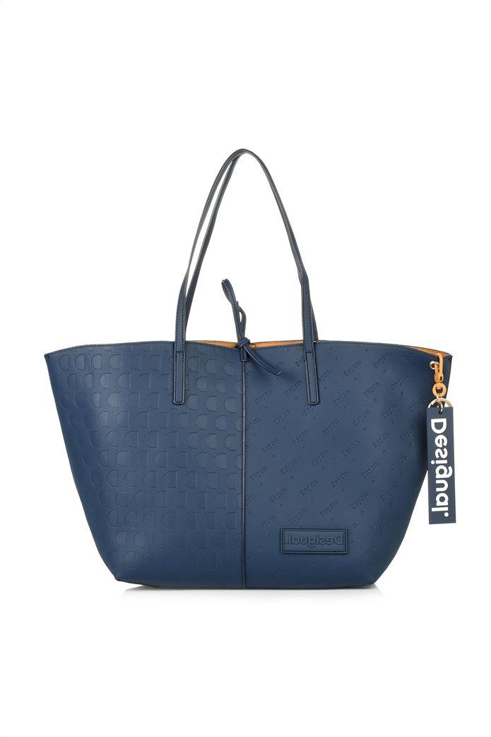 Desigual γυναικεία shopper bag διπλής όψης με ανάγλυφο logo σχέδιο Μπλε Σκούρο 0