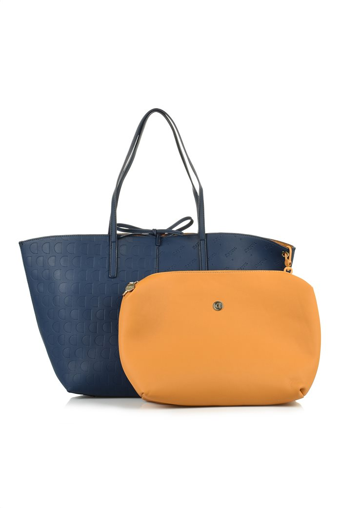 Desigual γυναικεία shopper bag διπλής όψης με ανάγλυφο logo σχέδιο Μπλε Σκούρο 1