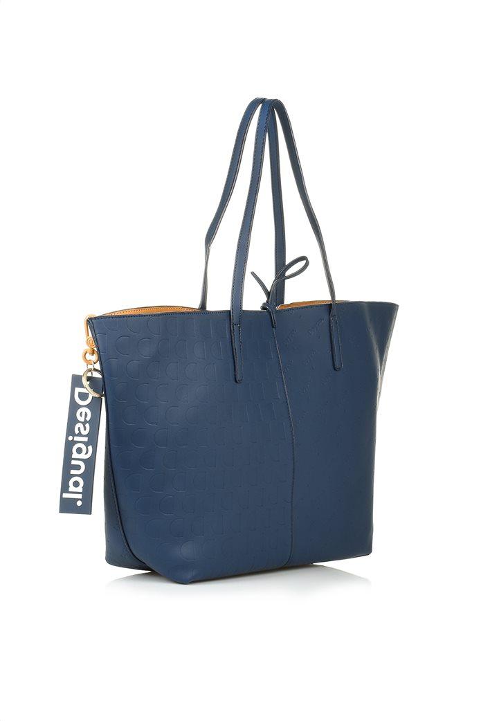 Desigual γυναικεία shopper bag διπλής όψης με ανάγλυφο logo σχέδιο Μπλε Σκούρο 2