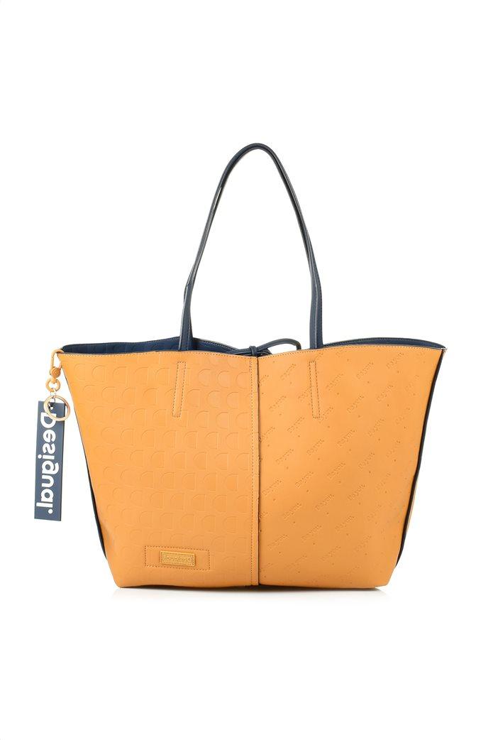 Desigual γυναικεία shopper bag διπλής όψης με ανάγλυφο logo σχέδιο Μπλε Σκούρο 3
