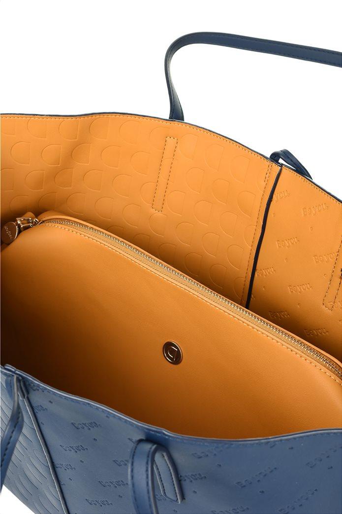 Desigual γυναικεία shopper bag διπλής όψης με ανάγλυφο logo σχέδιο Μπλε Σκούρο 4