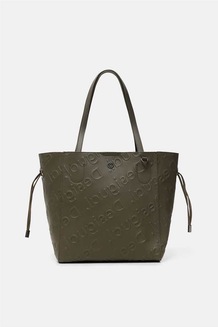 Desigual γυναικεία τσάντα ώμου με all-over ανάγλυψο logo Λαδί 1