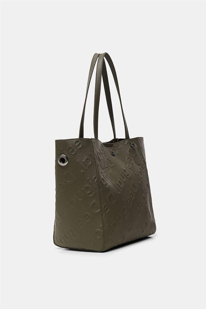 Desigual γυναικεία τσάντα ώμου με all-over ανάγλυψο logo Λαδί 2