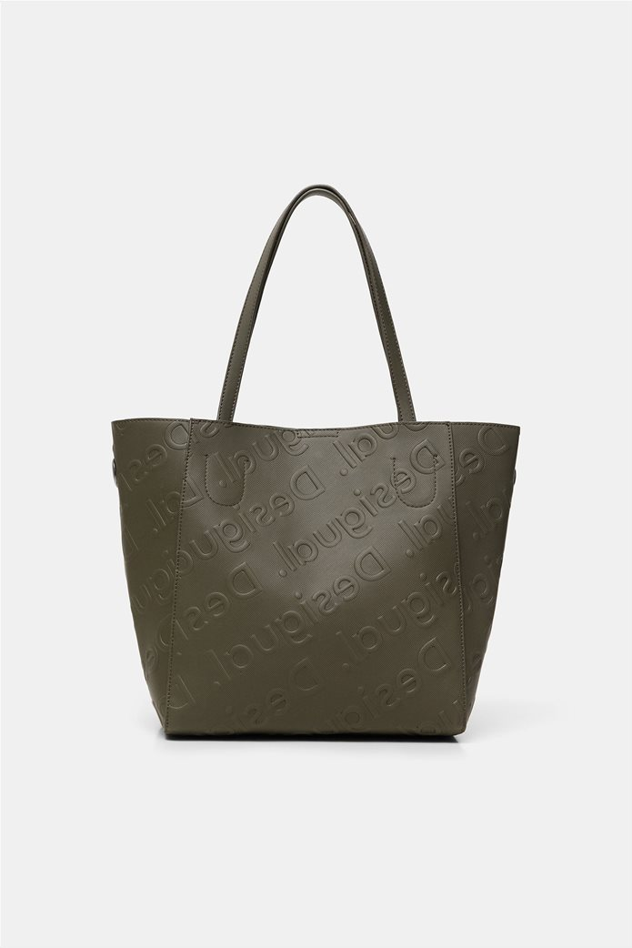 Desigual γυναικεία τσάντα ώμου με all-over ανάγλυψο logo Λαδί 3