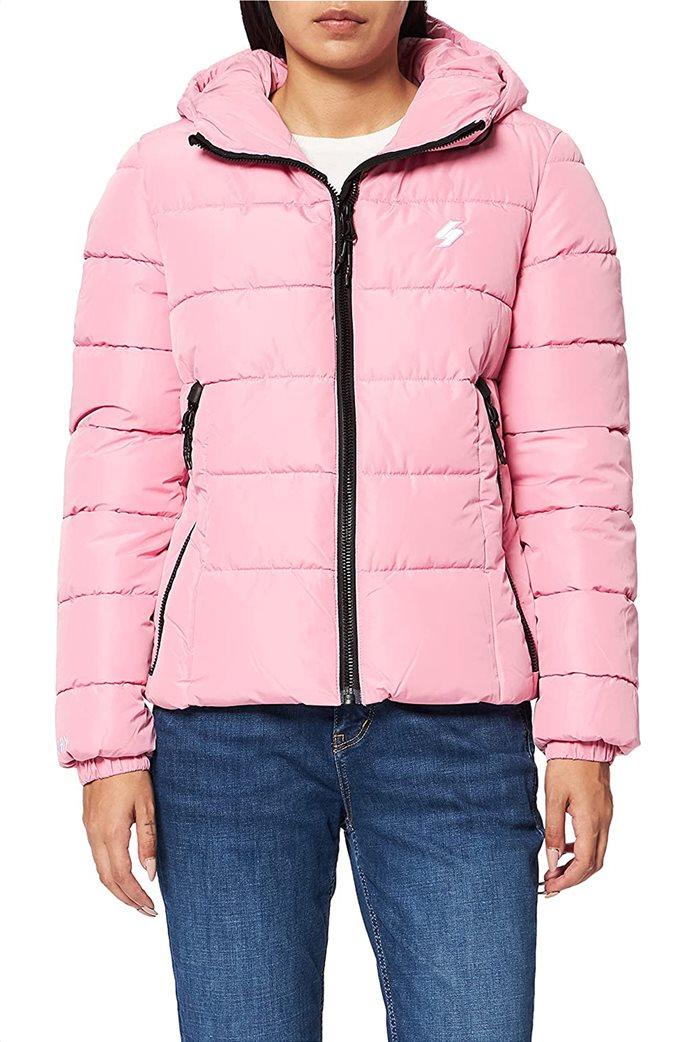 Superdry γυναικείo μπουφάν καπιτονέ με κουκούλα Ροζ 0