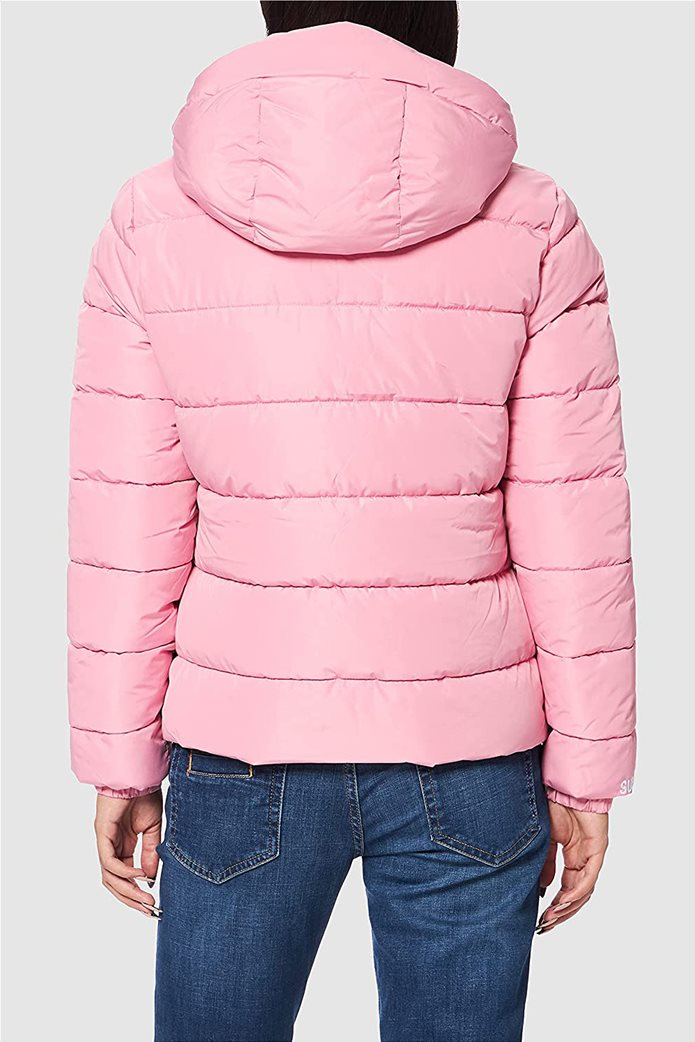 Superdry γυναικείo μπουφάν καπιτονέ με κουκούλα Ροζ 2