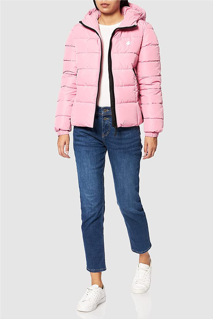 Superdry γυναικείo μπουφάν καπιτονέ με κουκούλα Ροζ 3