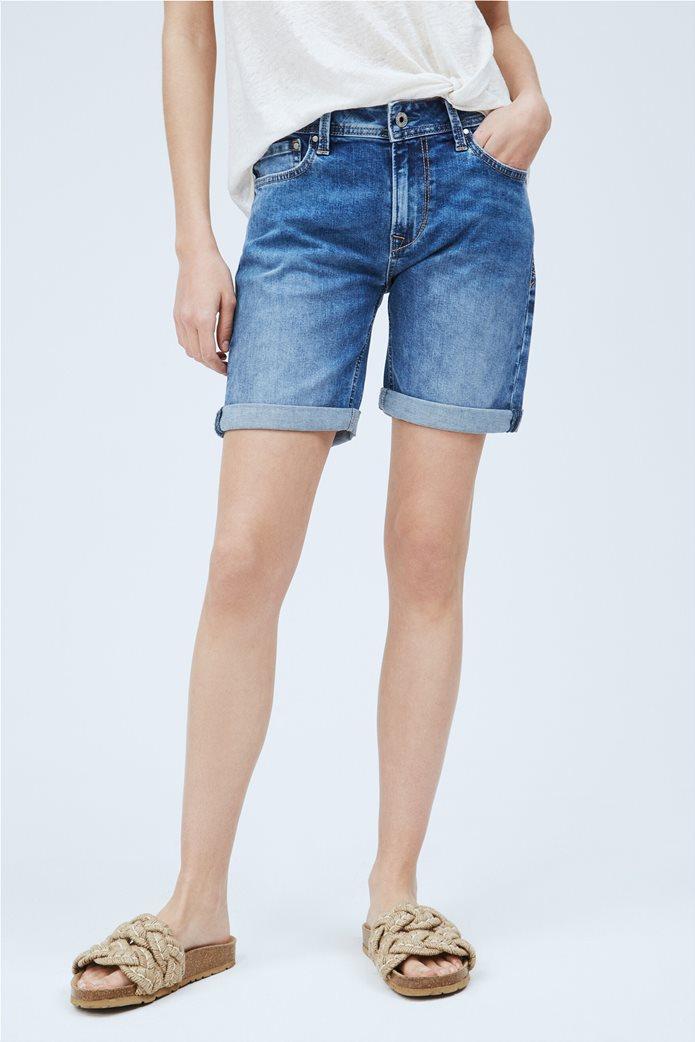 "Pepe Jeans γυναικείο denim σορτς με ρεβέρ ""Poppy"" Μπλε 1"