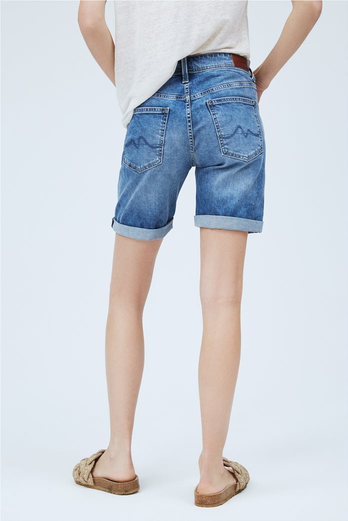 "Pepe Jeans γυναικείο denim σορτς με ρεβέρ ""Poppy"" Μπλε 2"