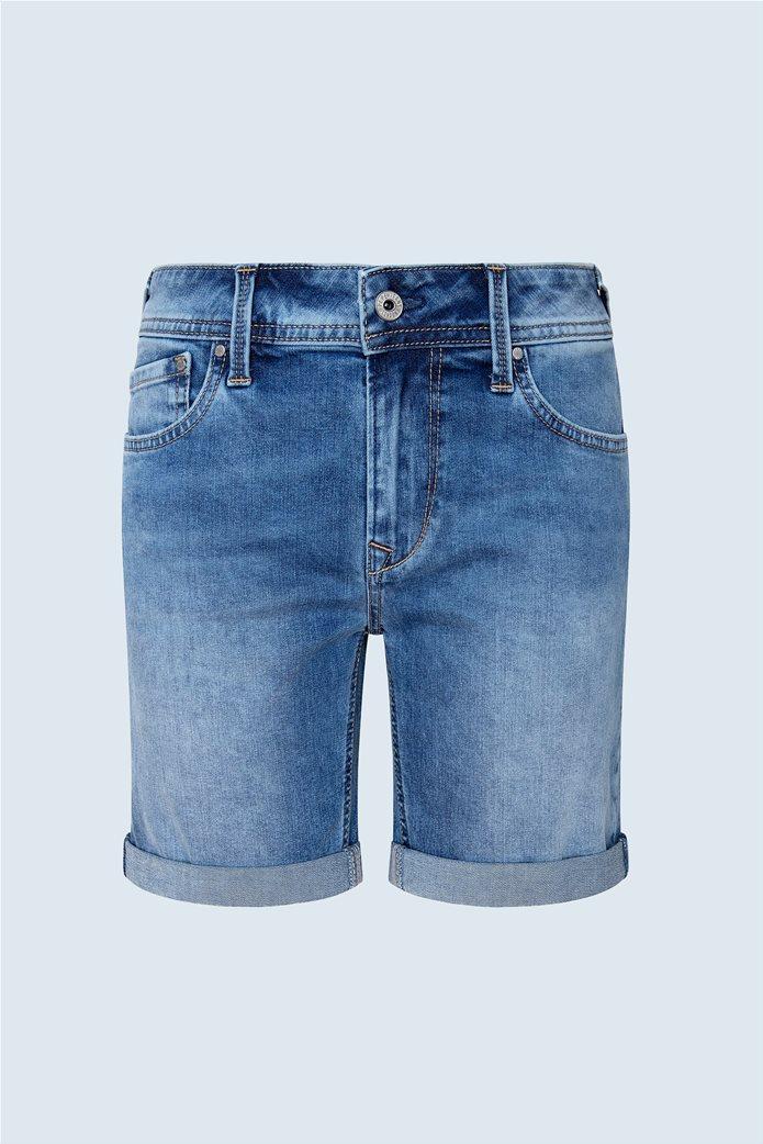 "Pepe Jeans γυναικείο denim σορτς με ρεβέρ ""Poppy"" Μπλε 5"