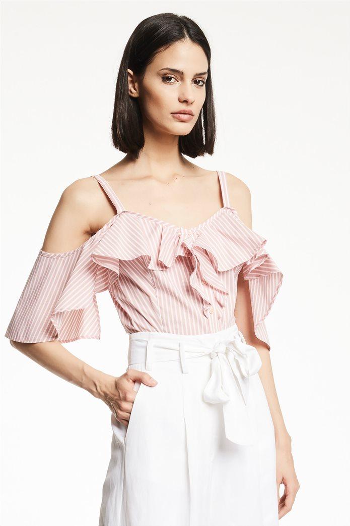 Gaudi γυναικεία μπλούζα ραντάκι ριγέ με βολάν Ροζ 0