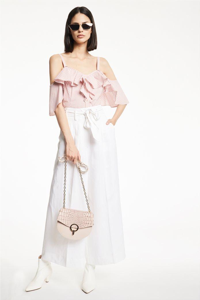 Gaudi γυναικεία μπλούζα ραντάκι ριγέ με βολάν Ροζ 1