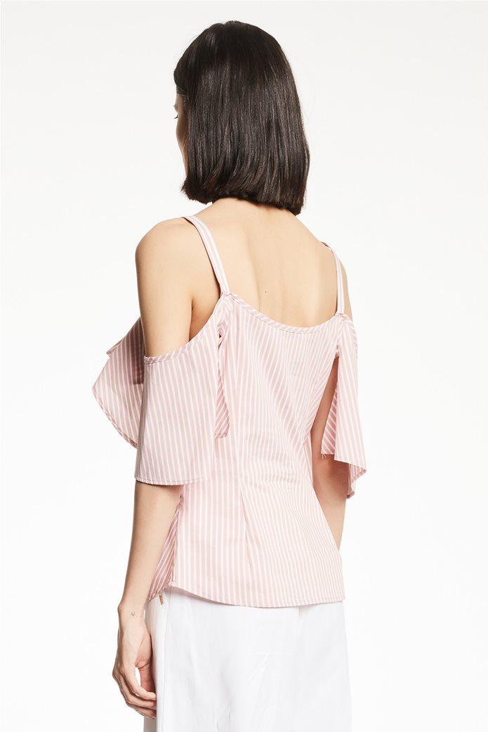Gaudi γυναικεία μπλούζα ραντάκι ριγέ με βολάν Ροζ 2