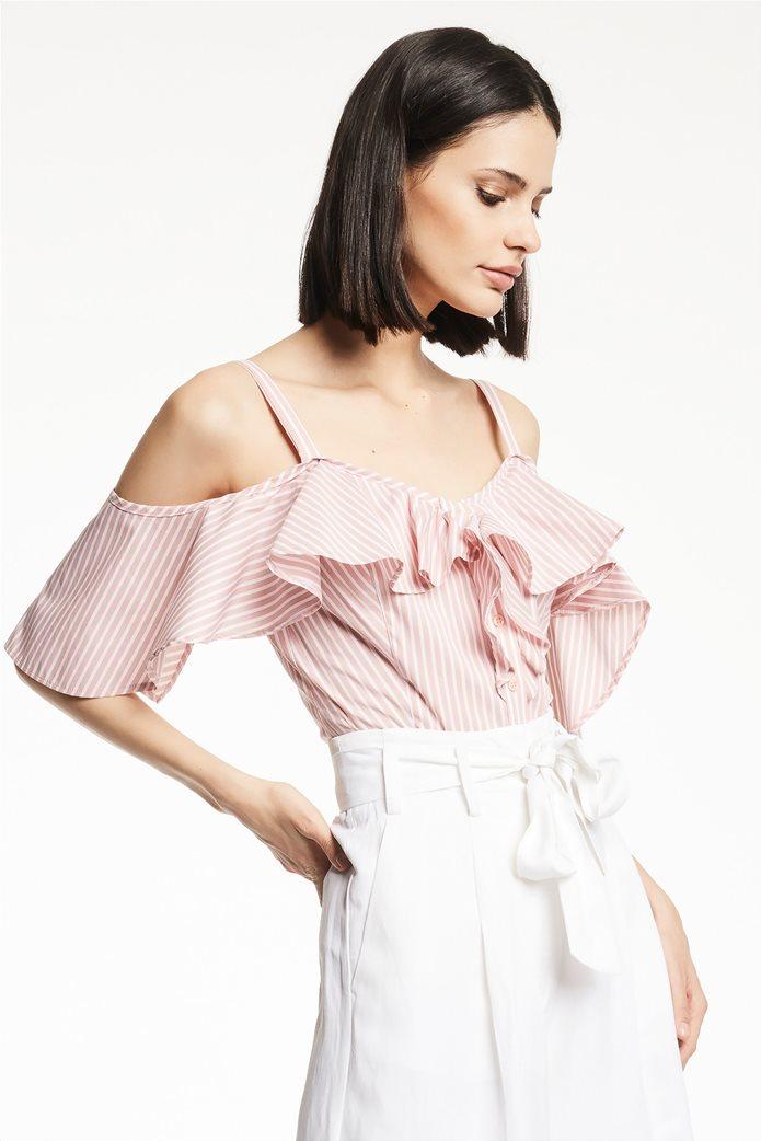 Gaudi γυναικεία μπλούζα ραντάκι ριγέ με βολάν Ροζ 3