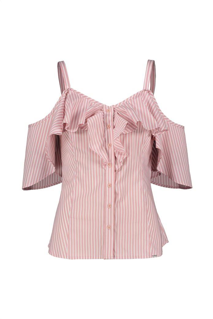Gaudi γυναικεία μπλούζα ραντάκι ριγέ με βολάν Ροζ 5