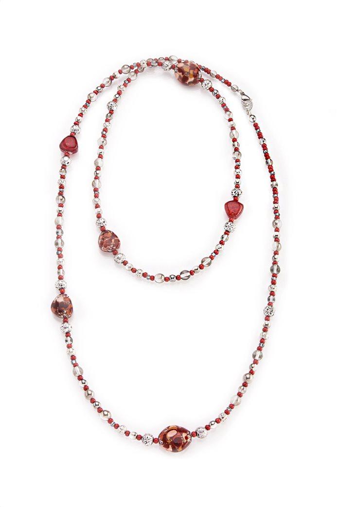 "Antica Murrina γυναικείο μακρύ κολιέ από γυαλί Μουράνο ""Αllure Long Red"" 0"