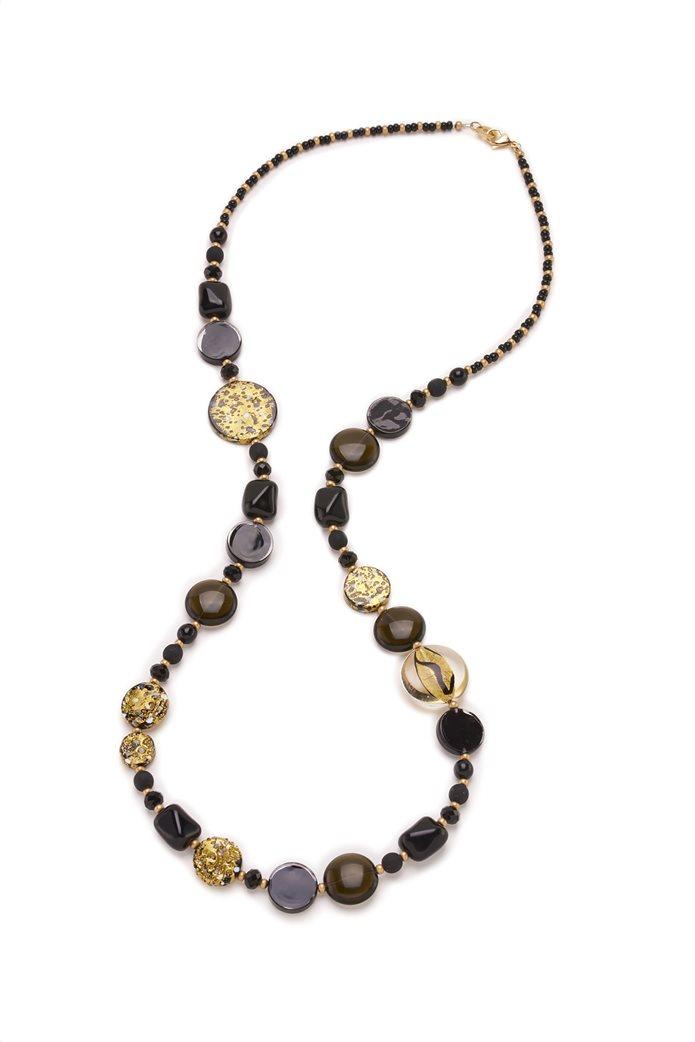 "Antica Murrina γυναικείο μακρύ κολιέ από γυαλί Μουράνο ""Isabelle Nero"" 96 cm 0"