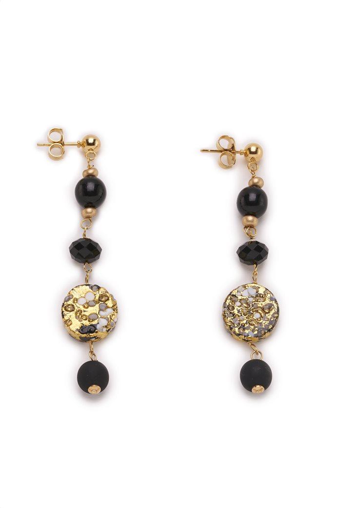 Antica Murrina γυναικεία κρεμαστά σκουλαρίκια από χειροποίητο γυαλί Μουράνο ''Isabel Nero'' 0