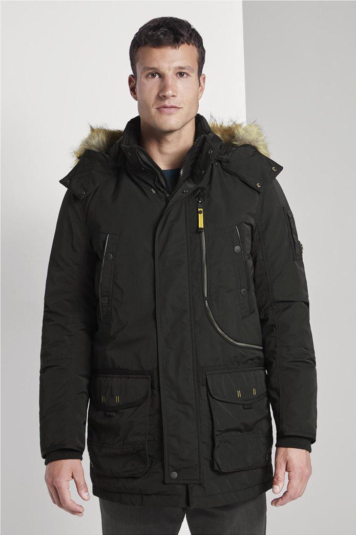Tom Tailor ανδρικό μπουφάν παρκά με faux γούνα 0
