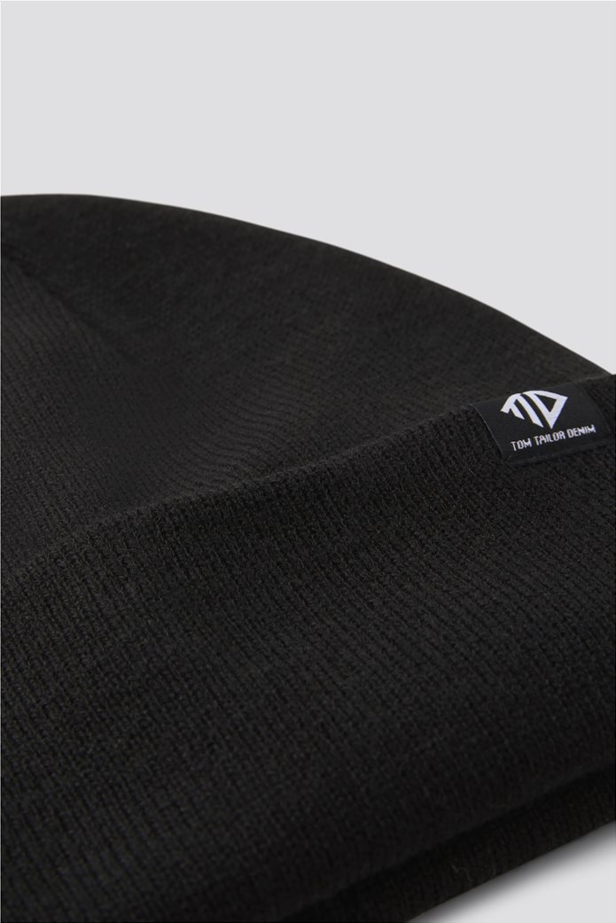 Tom Tailor ανδρικός ribbed σκούφος με logo patch 1