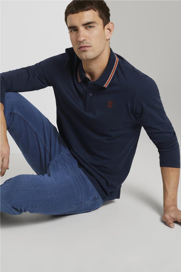 Tom Tailor ανδρική πόλο μπλούζα με κεντημένο λογότυπο και ριγέ λεπτομέρειες 1